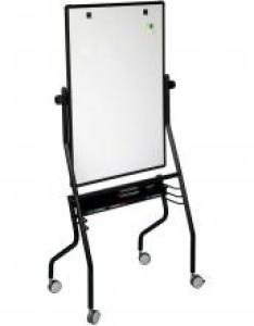 This freestanding reversible whiteboard is on  steel frame and has flip chart hooks an also double sided magnetic with wheels learner rh learnersupply