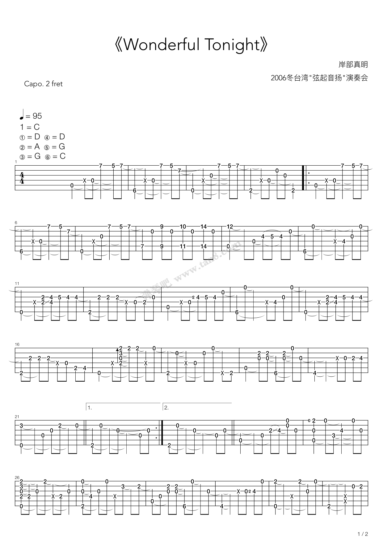 Wonderful Tonight by Masaaki Kishibe Guitar Tabs Chords