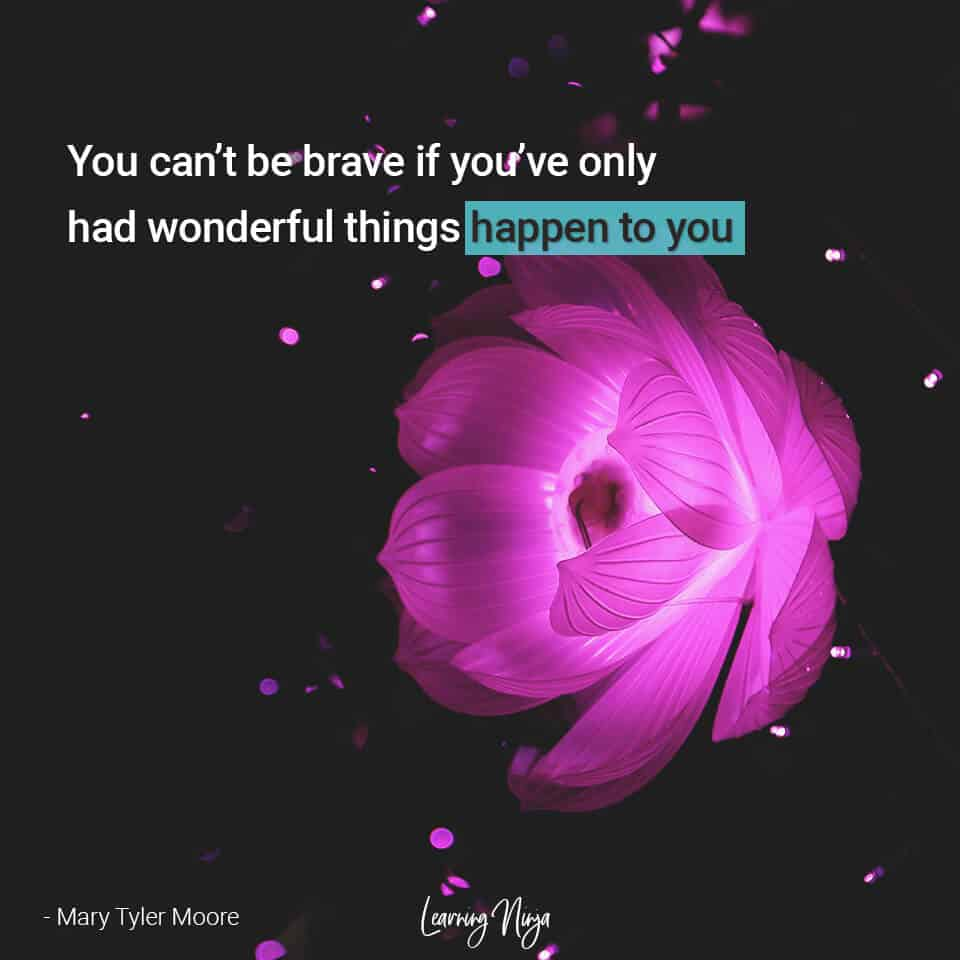 You can't be brave if you've only had wonderful things happen to you - Mary Tyler Moore