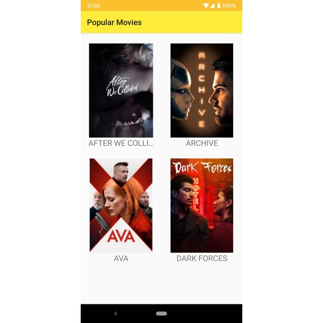 Figure 13.6: The app with only four movies