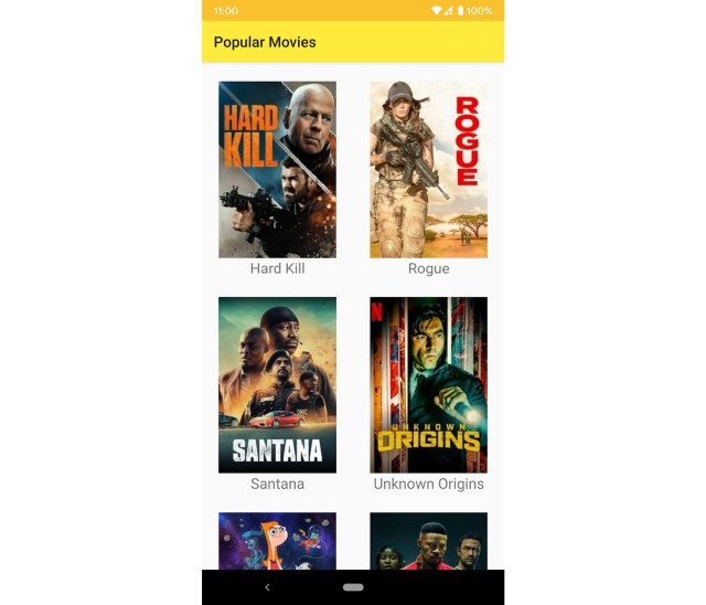 Figure 13.8: The app with unsorted popular movies