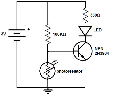 LED colour switch with photoresistor