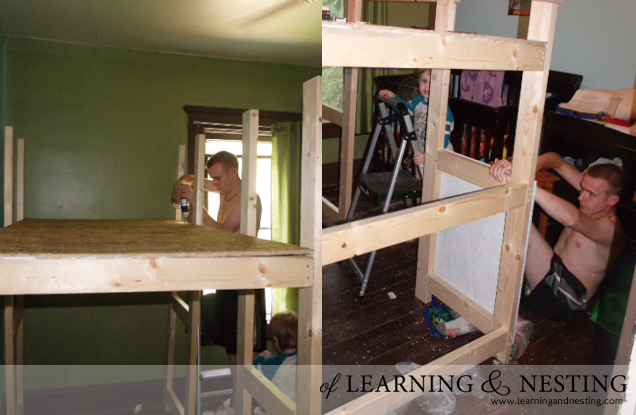 We built a modified toddler loft using plans from Ana White as the starting point.