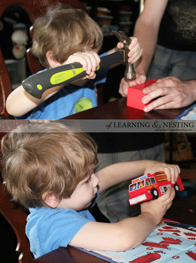 Evan loved building this firetruck with fire safety cards from Lowe's! Lowe's Build and Grow projects are meant for slightly older kids. However, with a bit of help, a toddler or preschooler can do these projects too!