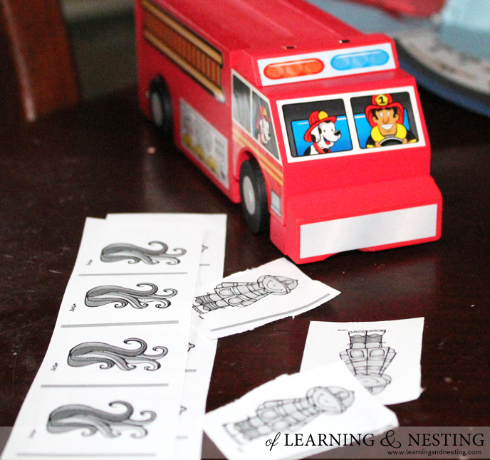 We decided to use the Lowe's project as a starting point to learn about fire safety. Another freebie we used was a set of printables from Royal Baloo!