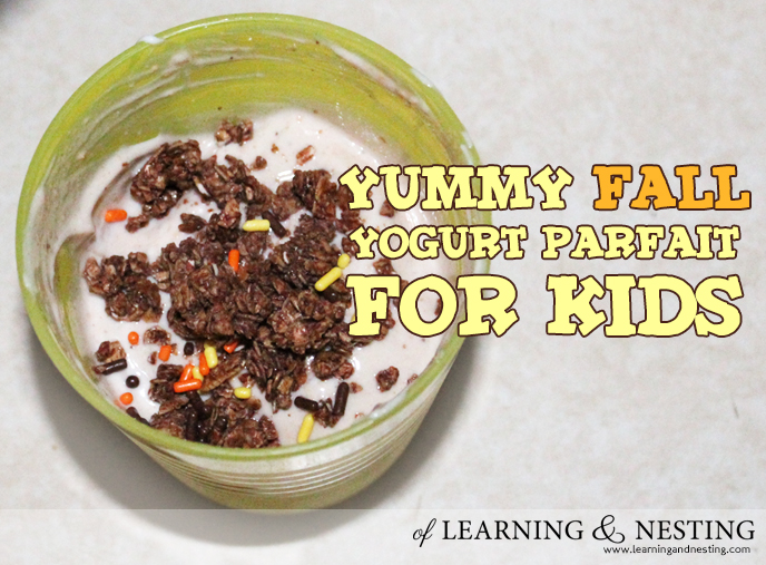 This yogurt parfait for kids is so simple to throw together! The kids loved it! Some seasonal sprinkles really upped the excitement, I think.
