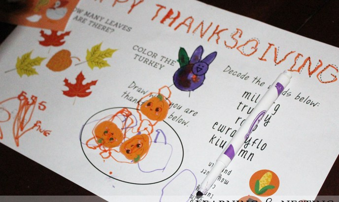 FREE Thanksgiving Placemat Printable
