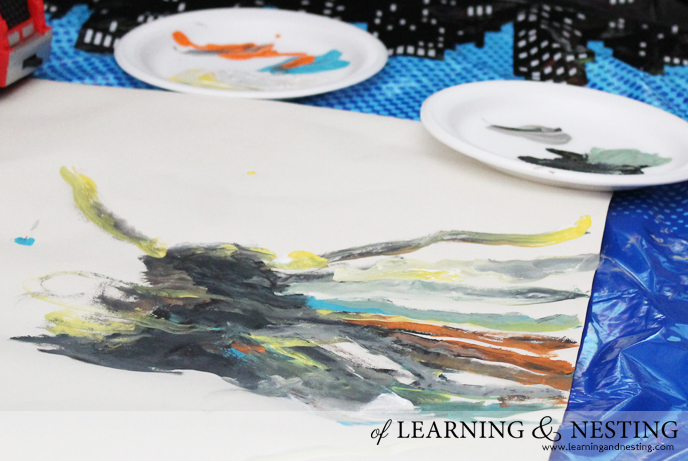 Preschool Painting - Process Art Spider - of Learning and Nesting