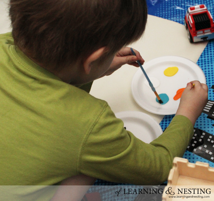 Preschool Process Art - Painting a Spider - of Learning and Nesting