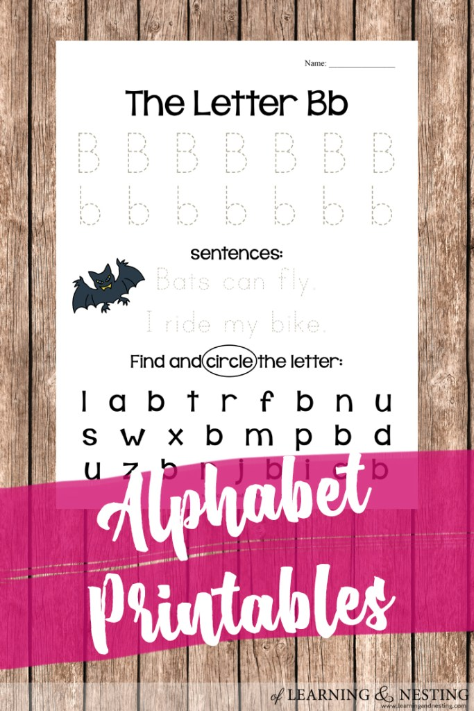 Simple Alphabet Printables - Letter B for letter recognition in preschool - of Learning and Nesting
