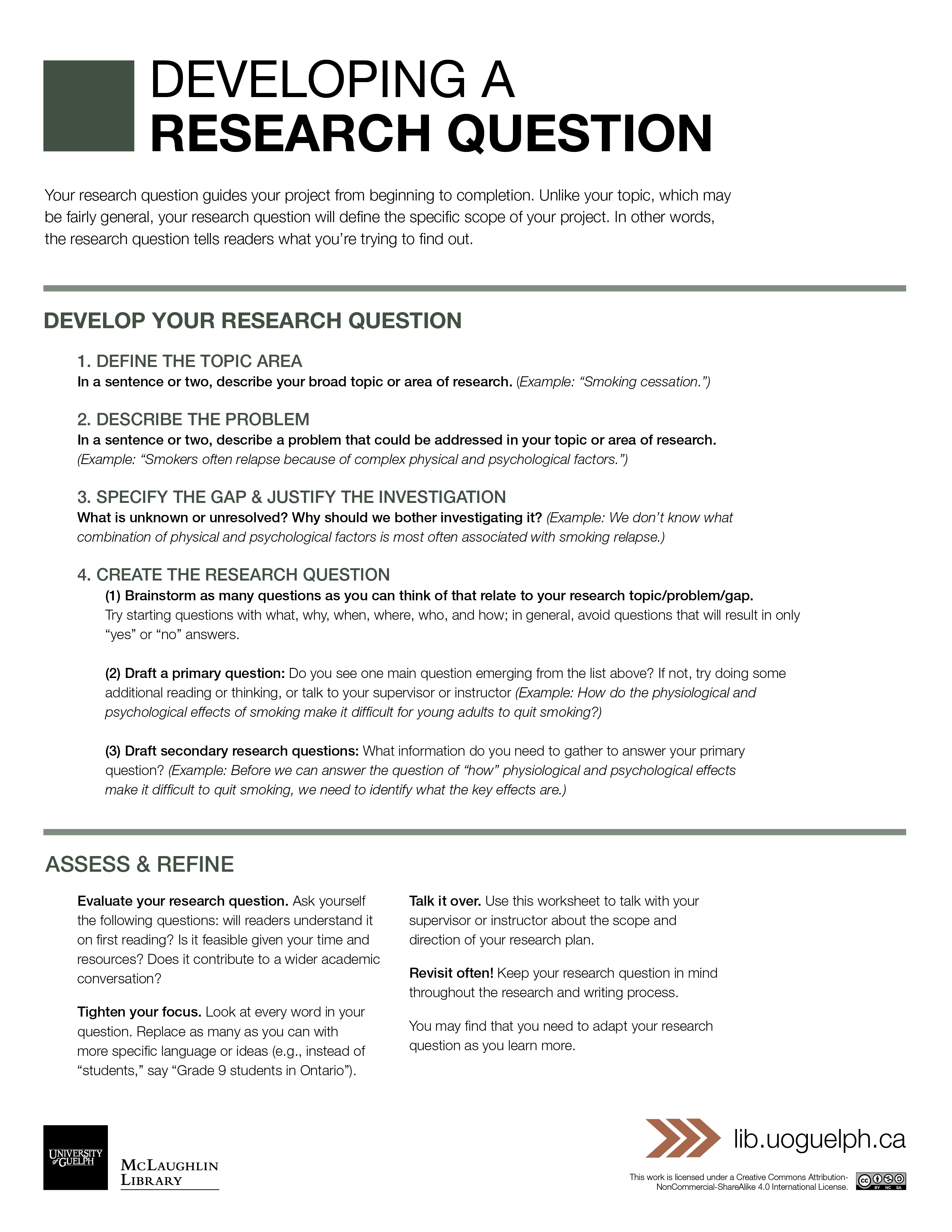 Developing A Research Question Worksheet