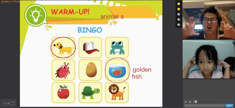 用有趣的 Bingo 遊戲了解 Tanya 的英文能力。