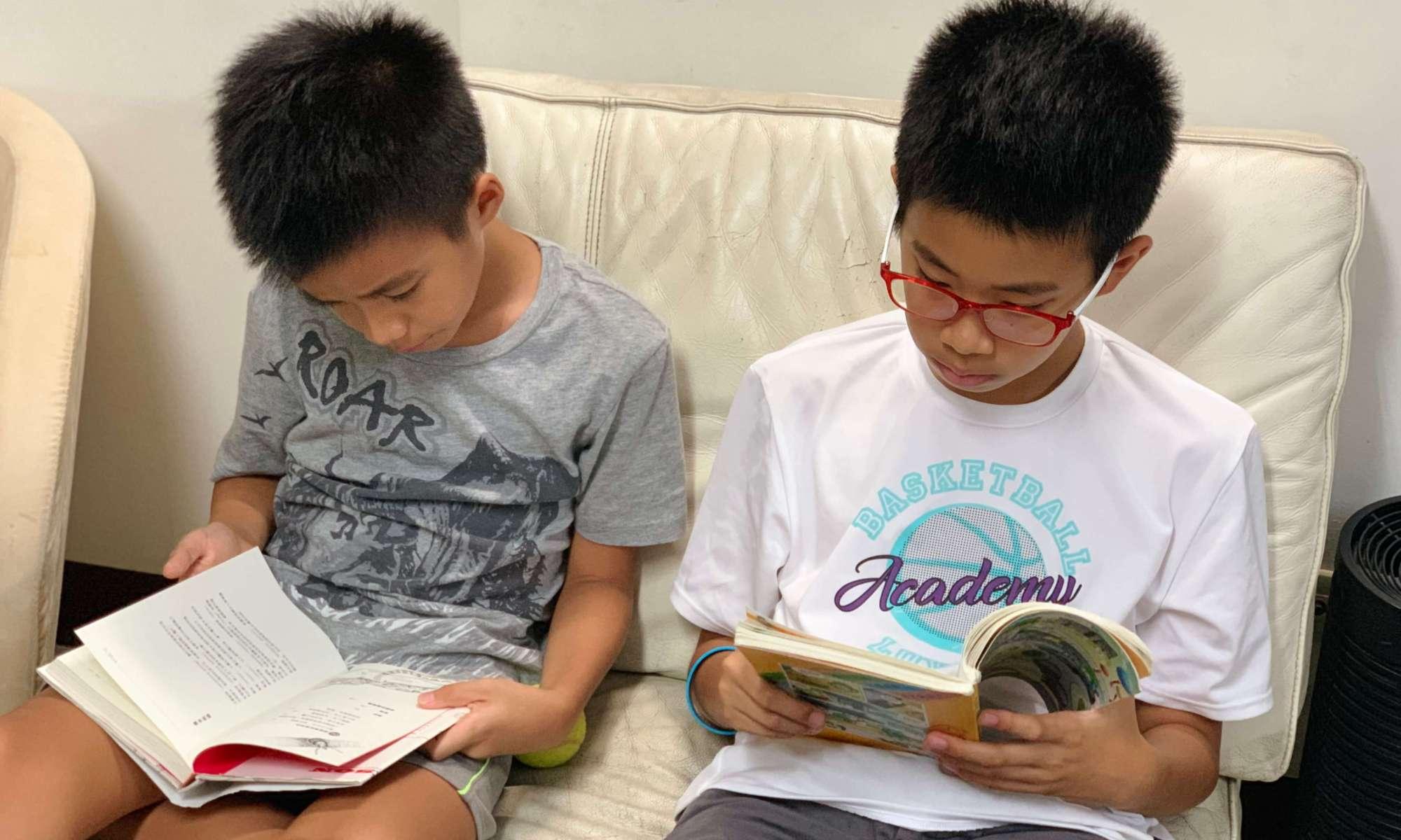 兩兄弟沉靜閱讀