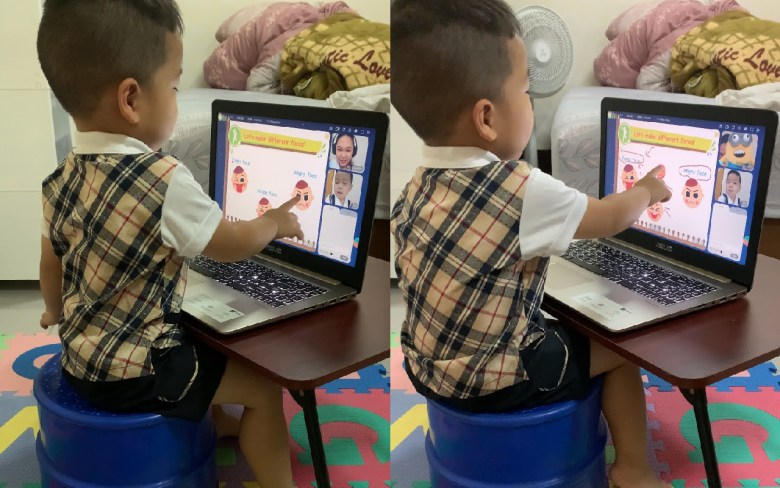 東東上課過程中,老師會拿起玩偶跟他互動,吸引他目光