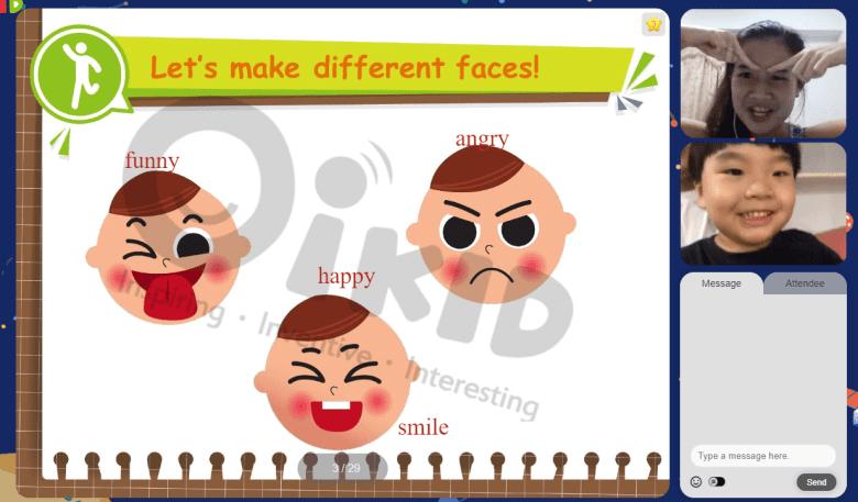 老師做出各種有趣的表情,小孩子對於浮誇的動作姿勢很沒有抵抗力