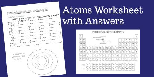 Atoms Worksheet for Middle School or HIgh School