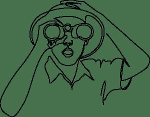 Sketch of person looking through binoculars.