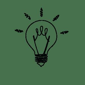 Sketch of a lightbulb shining brightly.