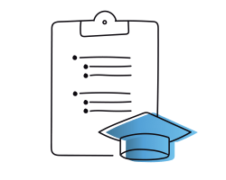 Sketch of clipboard with grad hat.