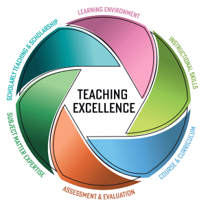 Teaching Excellence Framework image. Multicoloured circle.