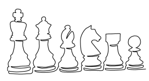 Sketch of chess pieces.