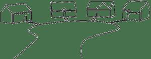 Sketch of houses in a cul-de-sac.