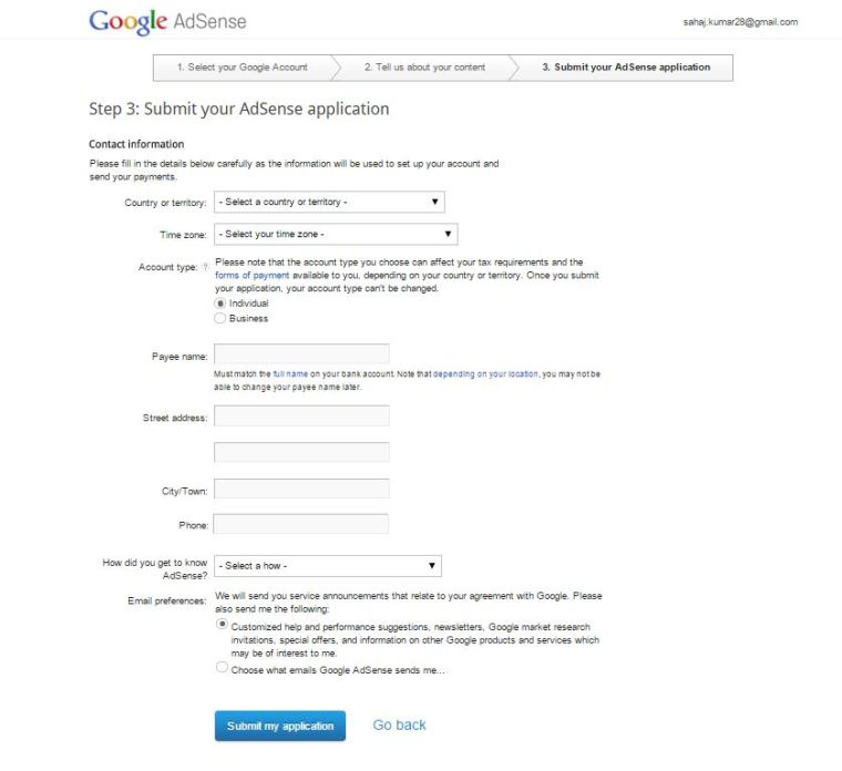 Google Adsense account creation Fill in your details