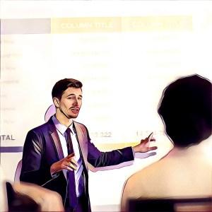 Hombre joven presentando