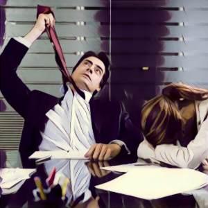 Hombre ahorcándose con la corbata en una reunión aburrida