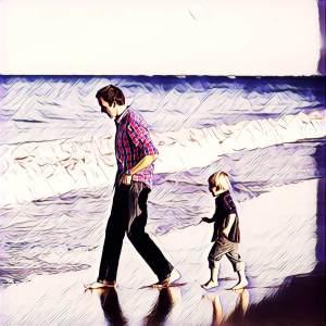 padre e hijo en la playa