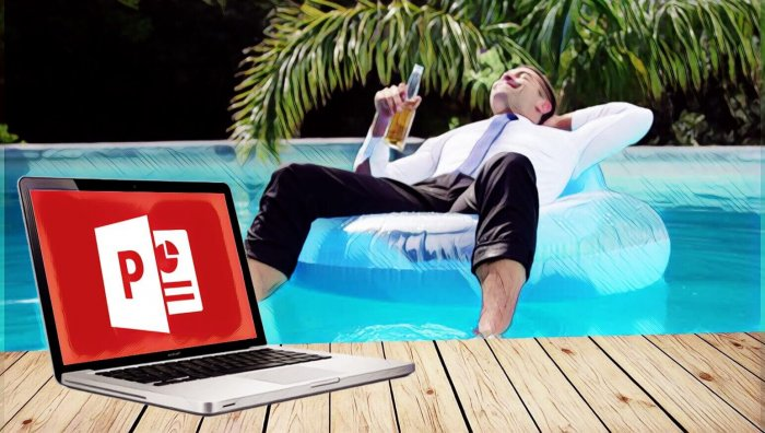 Hombre de negocios en la piscina con ordenador PowerPoint
