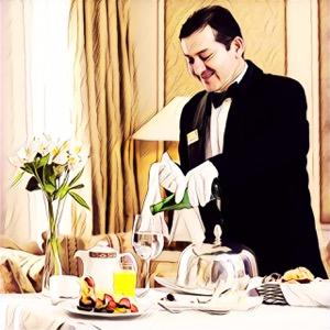 Camarero sirviendo copa