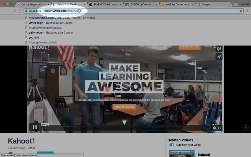 Copiando dirección original (URL) del vídeo de Vimeo