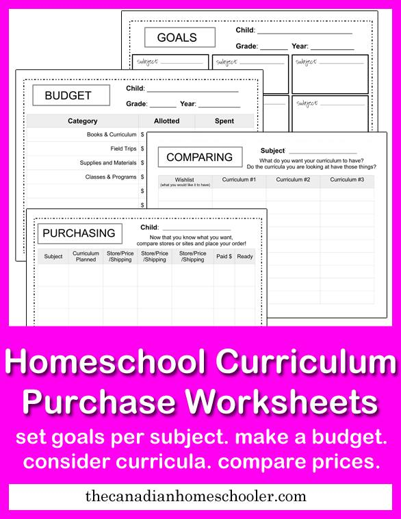 Homeschool Curriculum Purchase Worksheets-Fre pritnable