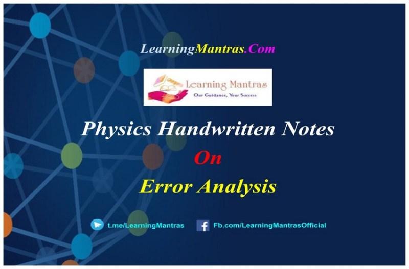 Error Analysis Handwritten Notes PDF