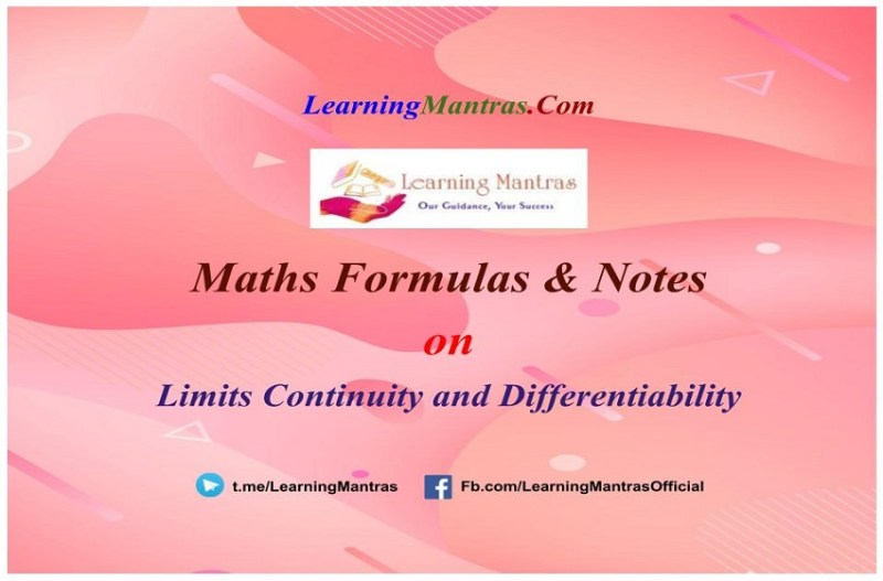 Limits Continuity and Differentiability Notes PDF