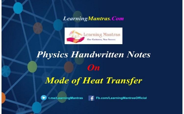 Mode of Heat Transfer Handwritten Notes PDF