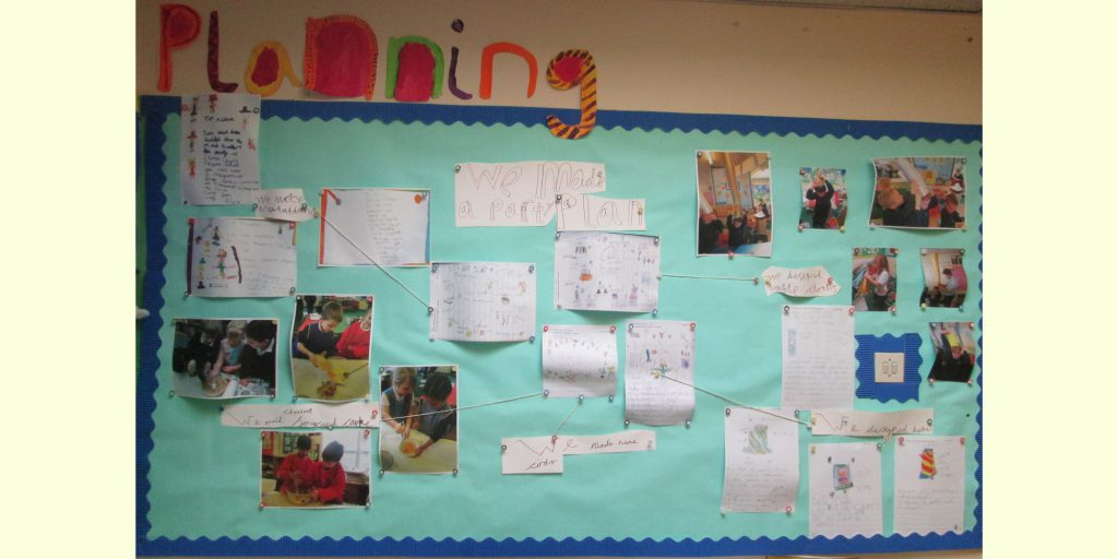 Learning environment display showing a planning wall.