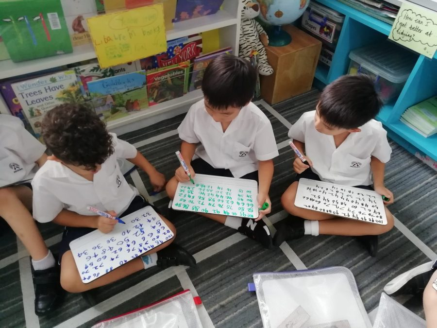 Children practise counting back in 2's on whiteboards. They have reflected on which skills they need to learn next.