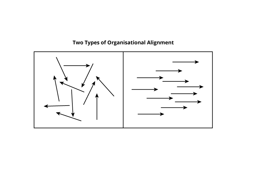 Diagram showing 2 types of  Organisational Alignment - here we are interested in the arrows which are facing in the same direction as the LPA