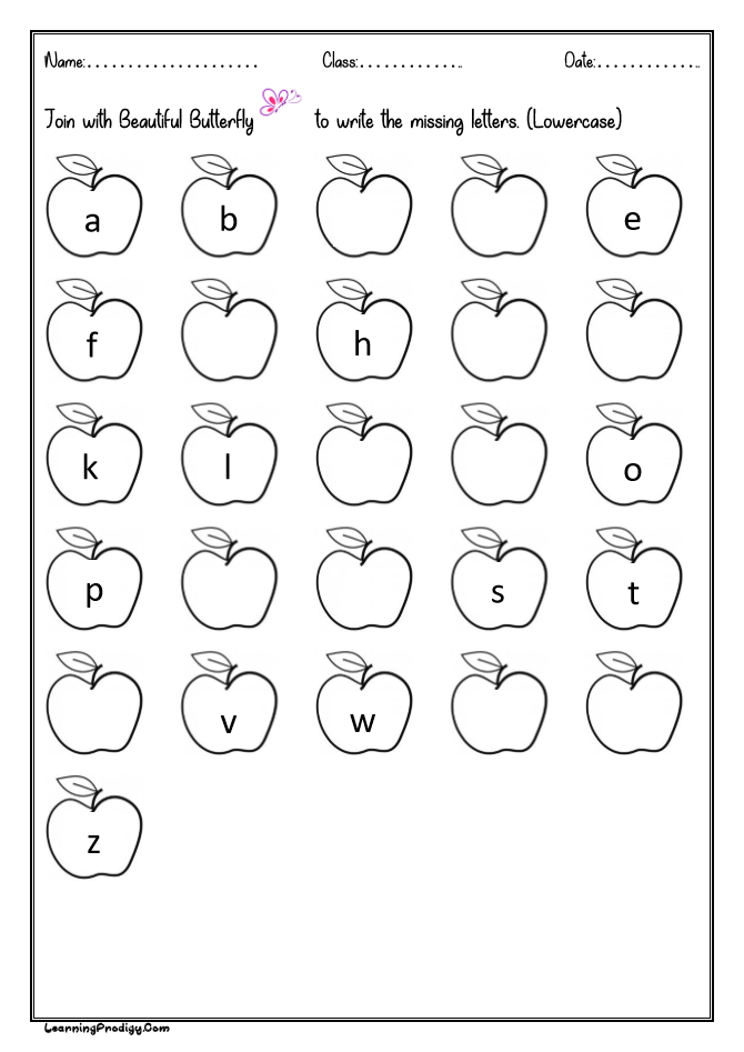 Fill In The Missing Letters |English Alphabets Worksheet For Kids  (Lowercase) LearningProdigy English, English Alphabets-Missing Letters,  English-K |
