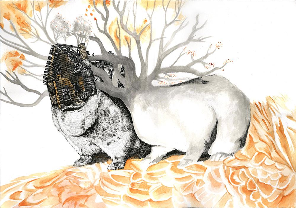 Bonding - ink and watercolor drawing by Jenie Gao