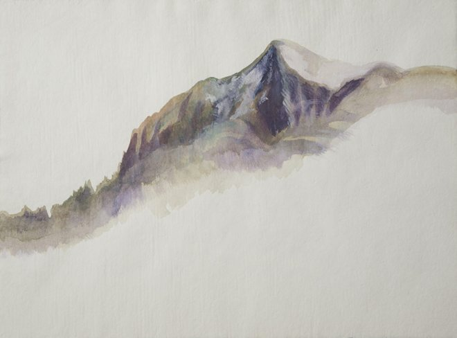 Flat Pictures of High Places - ink and watercolor drawing by Jenie Gao