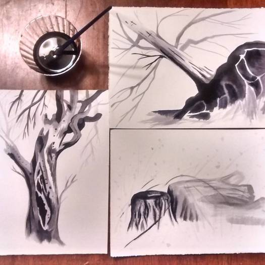 Ink drawings of trees, a study for Jenie Gao's Illuminate Madison project