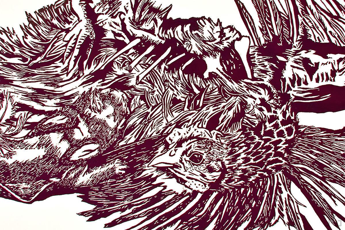 woodcut on paper Jenie Gao