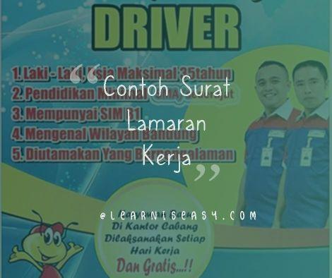 contoh surat lamaran kerja Supir Driver
