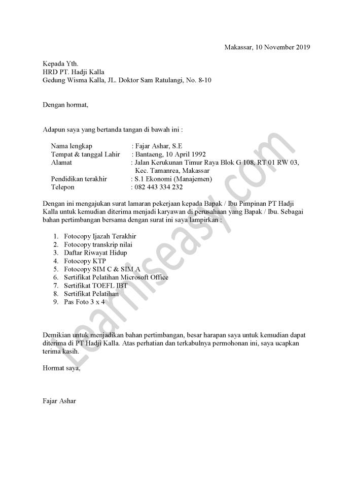 contoh surat lamaran kerja di PT