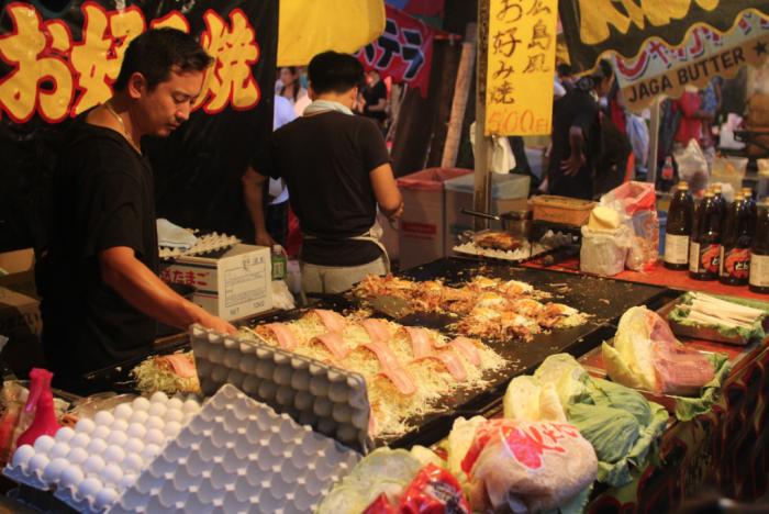Okonomiyaki festival stall food in Japan