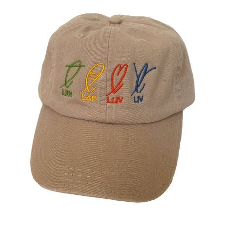 Chino twill cap khaki front LRN LAF LUV LIV Learn Laugh Love Live
