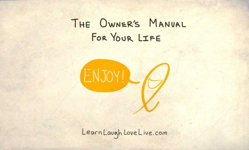 Owners Manual LAF Enjoy mascot LRN LAF LUV LIV LYF Learn Laugh Love Live Life